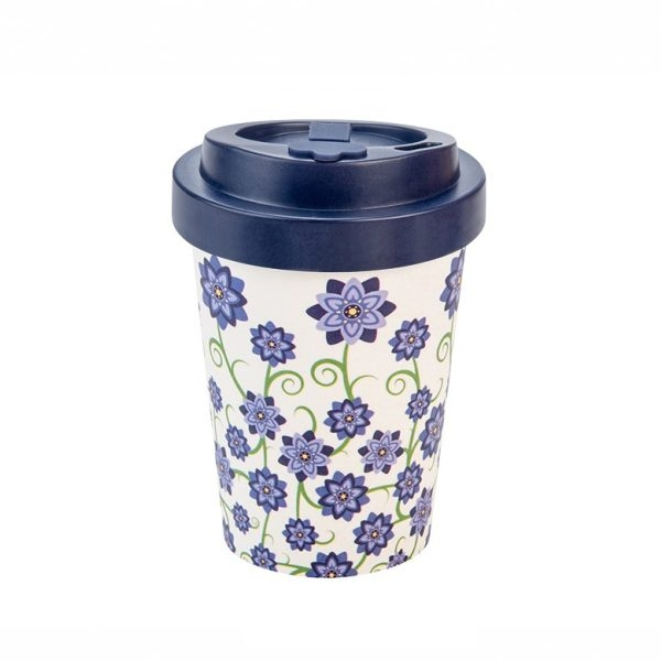 Woodway Kelímek na kávu z bambusu 300ml - Flowers Blue