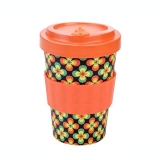 Woodway Kelímek na kávu z bambusu 400ml - Retro Flowers orange